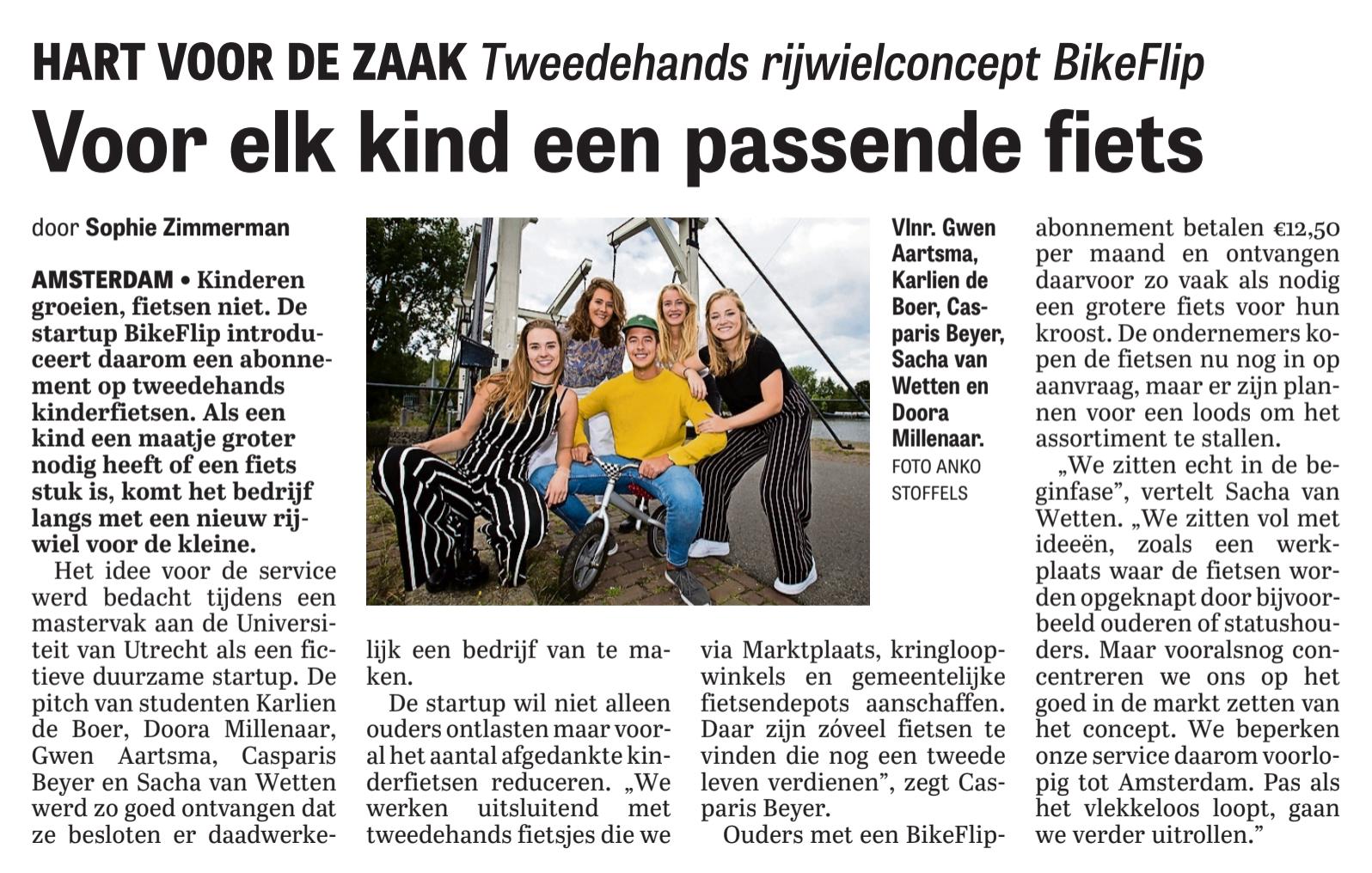 BikeFlip in De Telegraaf!